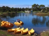 Canoes on the lake at Tiger Moth World Adventure Park, Torquay